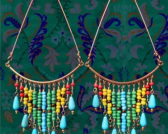 Large Gold Triangle Colorful Beaded Bohemian Chandelier Hoop Earrings, Huge! Turquoise Ethnic Earrings, African Jewelry, Hand-Wired Jewelry