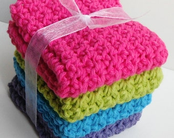Crochet Dishcloths Washcloths - Set of 4 - For Kitchen, Bathroom, Baby - Dark Pink, Green, Blue, Purple - 100% Cotton
