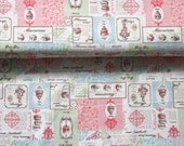 Japanese Fabric Cotton Yuwa - Vintage Patisserie Recipe pink - a yard