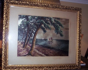 Vintage Silk Crewel Asian Beach Scene with off shore junks framed in beautiful gilded frame