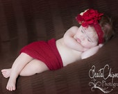 Red and Gold Baby, Christmas Headband, Flower Headband, Girl Headband, Photography Prop, Baby Headband / Red and Gold Handmade Headband