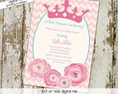 baby girl shower invitation princess crown tiara baptism birthday baby sprinkle chevron royal shower (item 1351) shabby chic invitations