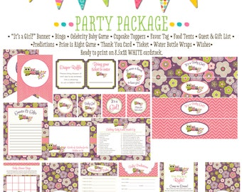 owl party package item 1301 package AS IS Matching games, ticket, banner, bingo, thank you card, water bottle wraps, cupcake toppers