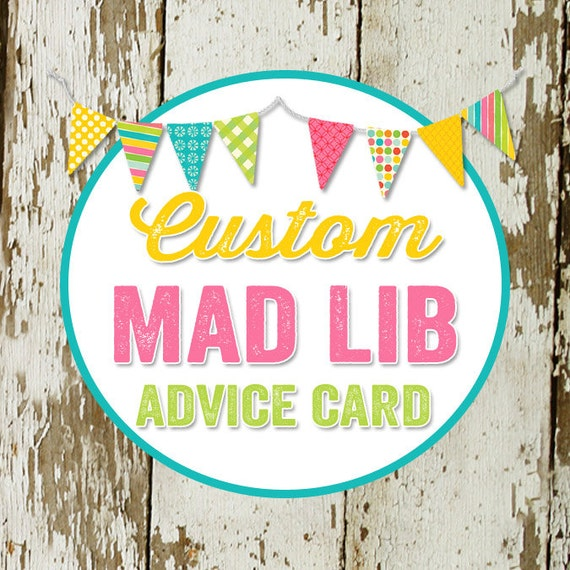 MAD LIB ADVICE card to match any design for baby shower or party, digital, printable file