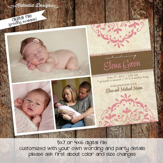 baby girl birth announcement christening baby shower baby sprinkle baby blessing sip and see baptism (item 435) shabby chic invitations