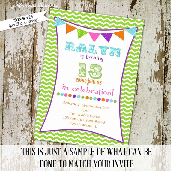 Teen birthday party invitation or birth announcement with bunting,  digital, printable file (item 203)