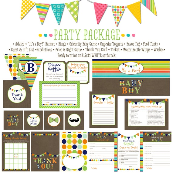 Baby Boy orange navy green item 1232 package AS IS Matching games ticket, banner, bingo, thank you card, water bottle wraps, cupcake toppers