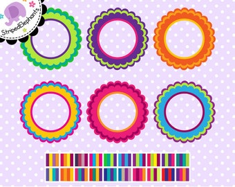 Multi-Colored Flower Digital Frames - Clipart Frames - Instant Download - Commercial Use