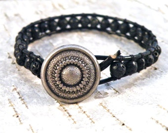 Rugged Rustic Black Lava Rock Leather Bracelet/ Essential Oils/ Mens Guys Dude Male/ Urban Modern Wrist Wrap/ Ready to Ship/ OOAK