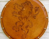 SHIELD - Lion - Hand Carved Leather