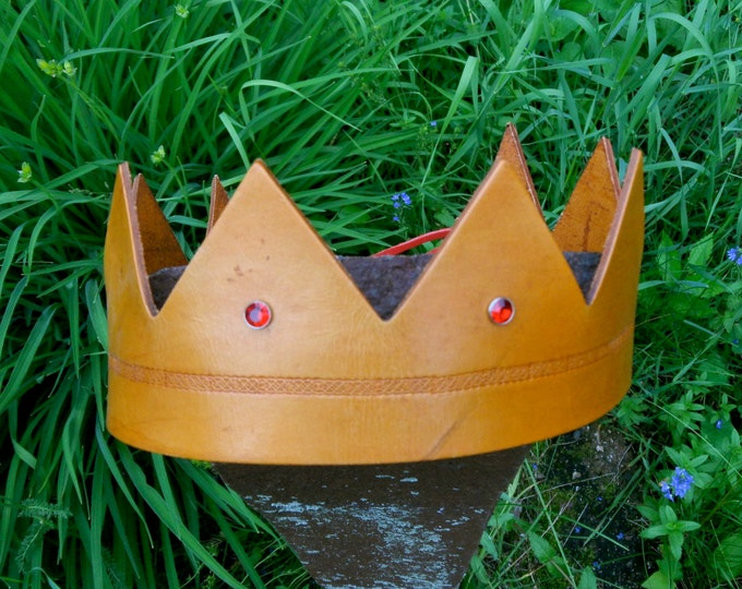 Crown - Where the Wild Things Are w/Celtic Ring & Rhinestones - Handmade Leather