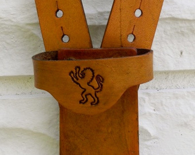 Sword BELT w/ LION Emblem - Handmade Leather