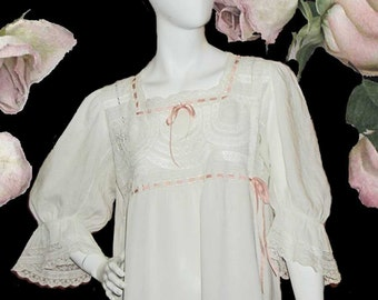 Edwardian White Linen & Lace Nightgown or Summer Dress With Ribbon Insertion and Small Monogram - Size M - L