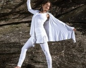 Small White Longsleeve Wrap Shirt Yoga Layer Top