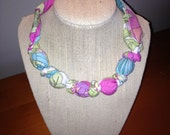 SALE!!! lululily handmade preppy pink fabric necklace- SALE!!! Ready To Ship