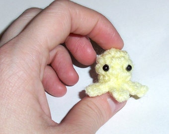 One Mini Baby Squidlet Plushie - Crochet Micro Squid Octopus Stuffed Toy - Choose your colors