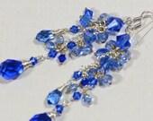 Cascade Sapphire Earrings Blue Crystal Earrings Long Dramatic Earrings