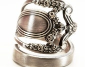 Royal Victorian Ring, Lunt Monticello, Sterling Silver Spoon Ring, Handmade Ring, Gift for Her Floral Victorian, Adjustable Ring Size (5823)