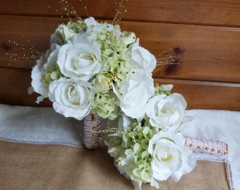 Creme and ivory wedding  bouquets and boutonnieres 4 piece set silk bridal bouquets creme and ivory roses green hydrangea