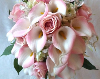 Blush Pink rose and pink Calla lily cascading wedding bouquet set