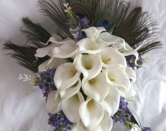 Calla lily wedding bouquet elegant Real touch mini white calla lily peacock feather cascading bridal bouquet