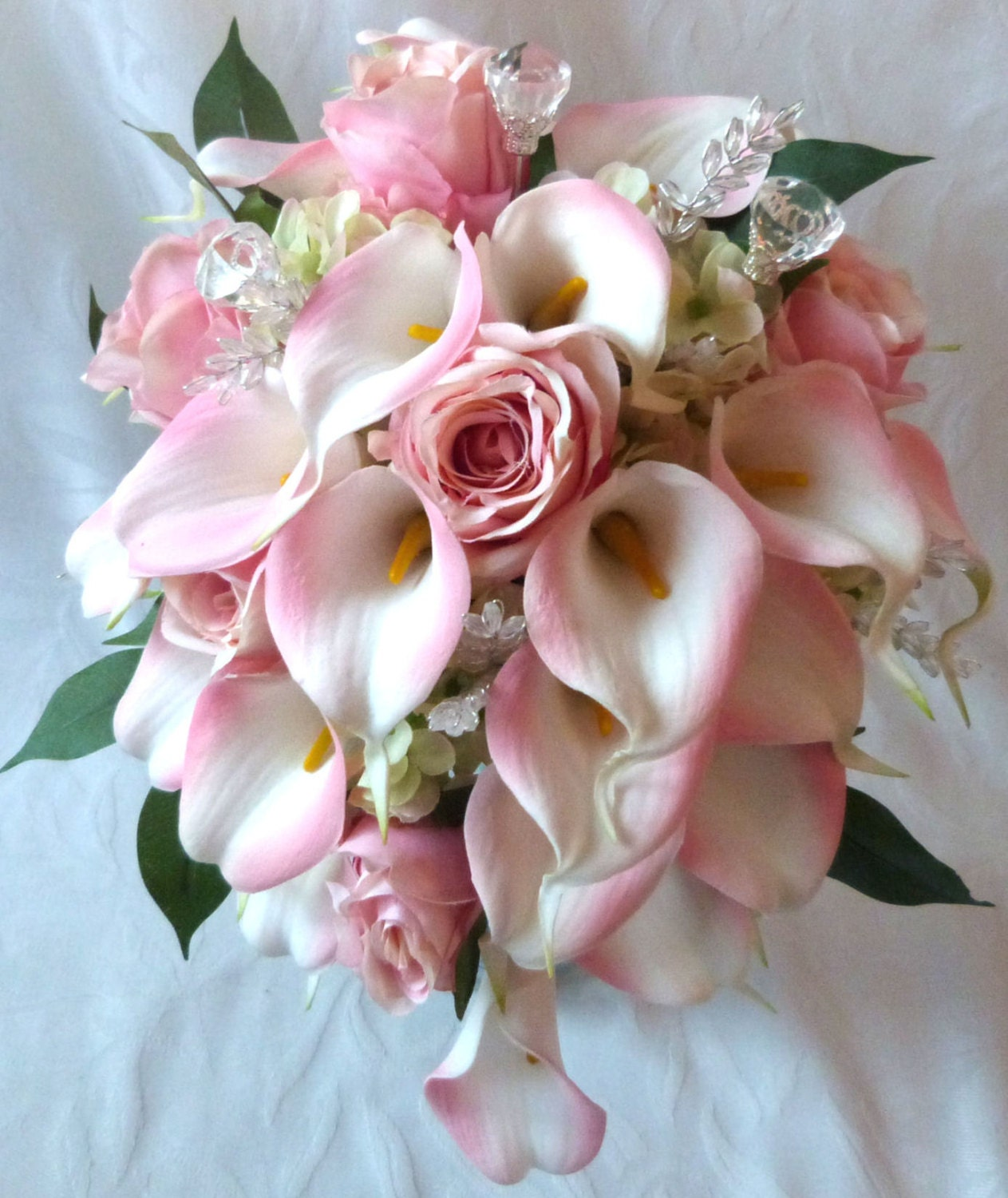 Blush Pink rose and pink Calla lily cascading wedding bouquet