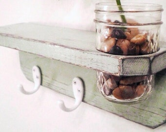 Shabby Chic Shelf with Jar Primitive, Wall Vase with hooks, French Country Distressed Decor, Primitive Wall Hanging, Country Cottage