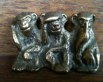 Vintage English Brass Monkey See Hear Speak Not circa 1950's / English Shop