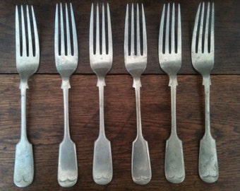 Antique Luncheon Forks Cutlery Silverware Flatware circa 1900's / English Shop