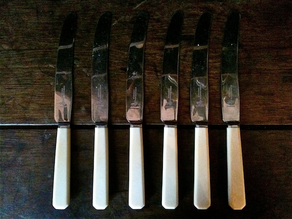 vintage propagation anglais 6 couteaux en acier inoxydable de. Black Bedroom Furniture Sets. Home Design Ideas