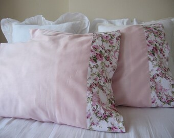 Pale pink pillowcases, shabby chic bedding-shabby chic pink floral border trim,queen bedding  standard pillow cases Nurdanceyiz