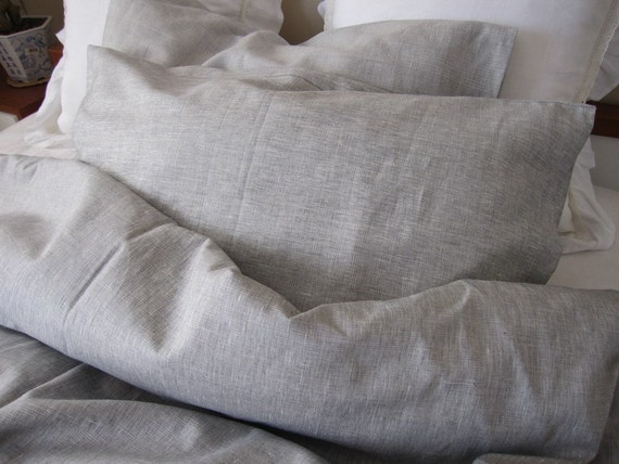 Gray down comforter king : Solid gray grey linen full queen king duvet cover with bedding