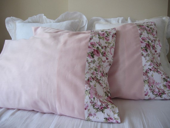 Shabby Chic Pink Pillows : Pale pink pillow cases shabby chic pink floral by nurdanceyiz