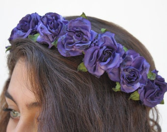 Purple Blue Rose Crown.  Rose Headband, Flower Crown, Floral Crown, Cobalt, Purple, Blue Rose, Purple, Festival Flower Crown, Gift Idea