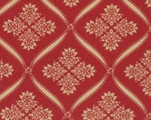 LAST ONE Fat Quarter of Wintergreen Crimson Ribbon Damask Red by 3 Sisters for Moda