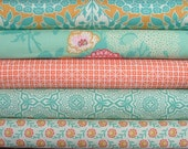 Botanique Teal & Apricot Fat Quarter Bundle of 5 by Joel Dewberry for FreeSpirit