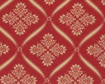 """17"""" of Wintergreen Crimson Ribbon Damask Red by 3 Sisters for Moda LAST PIECE"""