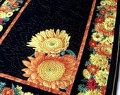 Quilted Table Runner Sunflowers Autumn Decor Thanksgiving