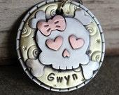 Large Sugar Skull Dog ID Tag- Large pet name tag- girlie skull - tattoo inspired