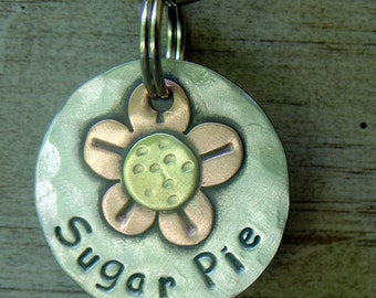 Small custom dog tag-cat id tag- flowered pet id tag- Little Copper Flower
