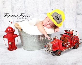 Fireman hat photo prop, fireman hat, fireman helmet, fire fighter hat, newborn prop, fireman prop, baby prop, dress up, baby shower gift