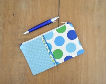 SALE blue and green dots zipper pouch - fun polkadot blue school pencil pouch - polkadot green and blue cosmetic bag - gift for her
