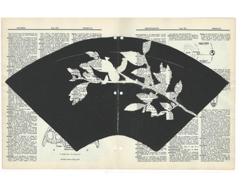 Monoprint on vintage dictionary sheet, black, Asian fan, zen