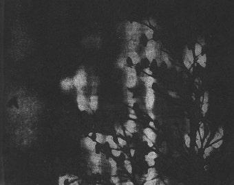 Night Song, etching, black night