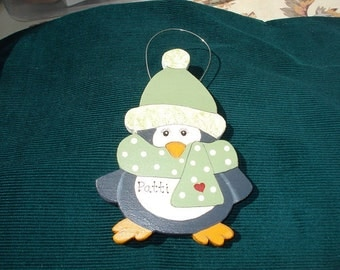 Personalized Wood Christmas Ornament - Penguin