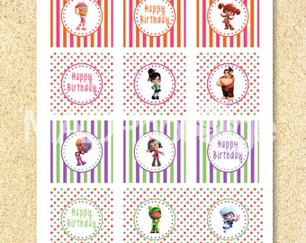 Wreck it Ralph printable Cupcake toppers, Instant download, printable birthday, wreck it ralph party, candy crush