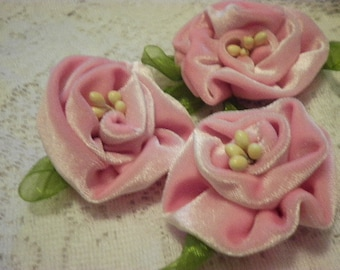 PINK vintage VELVET handmade flower PINS