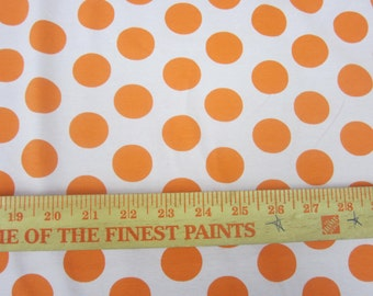 Orange Euro Dot on Pale PInk Cotton Lycra KNit FAbric
