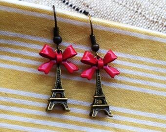 Red Bow Eiffel Tower Earrings