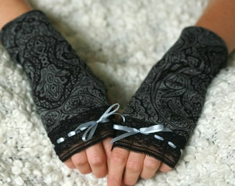 Grey ornament Arm Warmers / Fingerless Gloves with Lace Detail and Ribbon